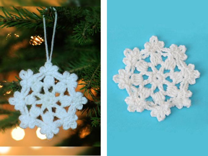 Как связать крючком салфетку маленькую белую в форме снежинок