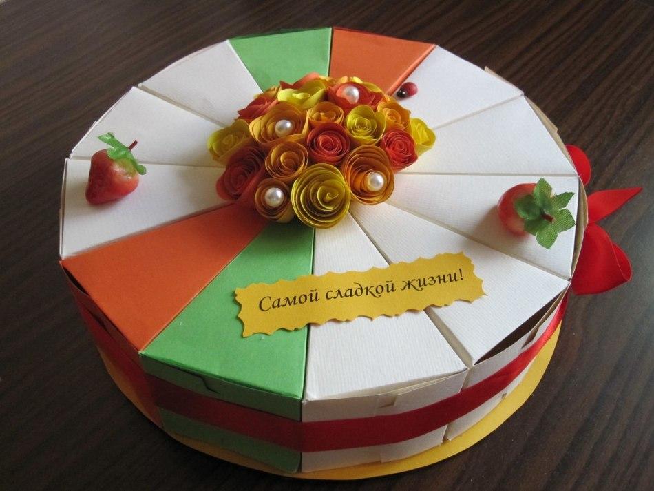 Тортик своими руками из бумаги с пожеланиями