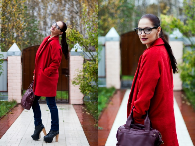 Бордовое пальто с карманами