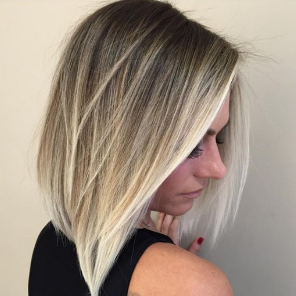 Растяжка цвета волос от темного к блонду