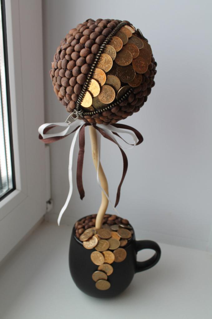Как сделать денежное дерево своими руками из купюр и монет: пошаговая инструкция. Денежное дерево - топиарий, из бисера