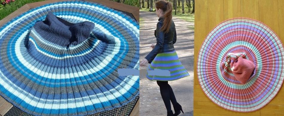 Связанные спицами юбки плиссе и одно фото с ней на девушке