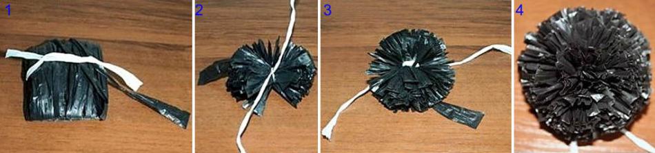 Как сделать помпон из мусорных пакетов 678