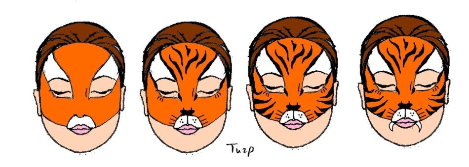 Как рисовать тигрёнка на лице