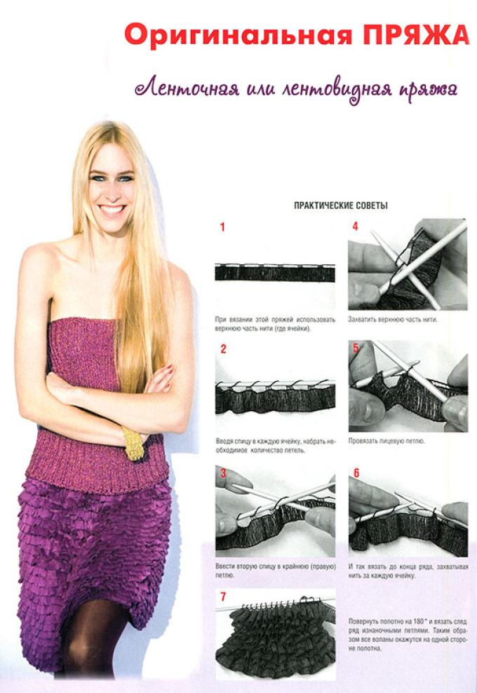 Практические советы по вязанию юбки из ленточной пряжи