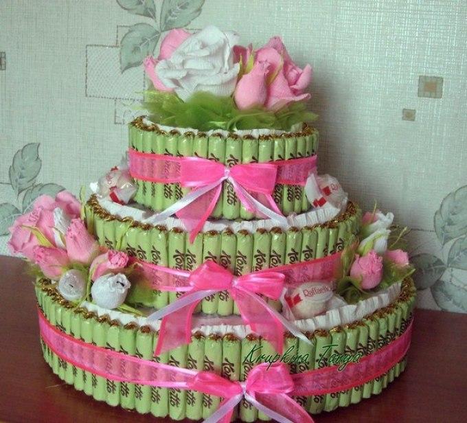 как сделать торт из конфет своими руками пошаговые фото