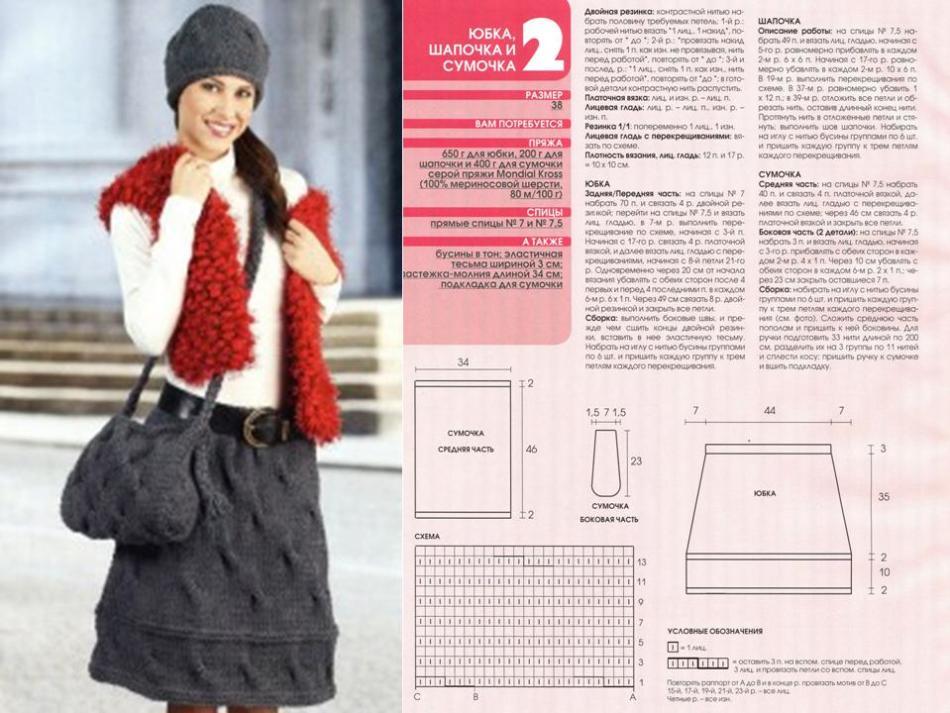 Описание и схема вязания спицами теплой юбки на зиму в наборе с шапкой и сумкой