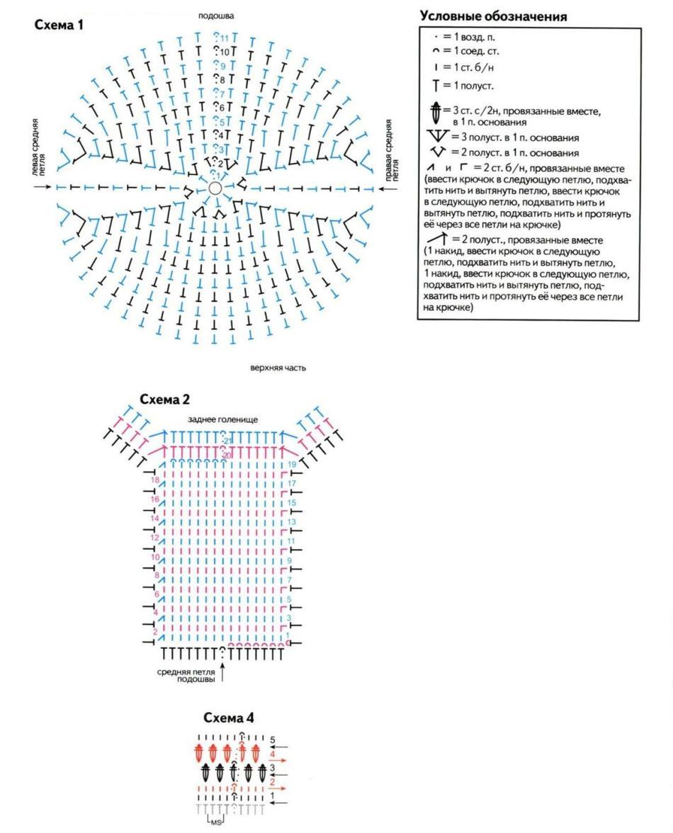 Вязание крючком тапочки и следки схемы и фото