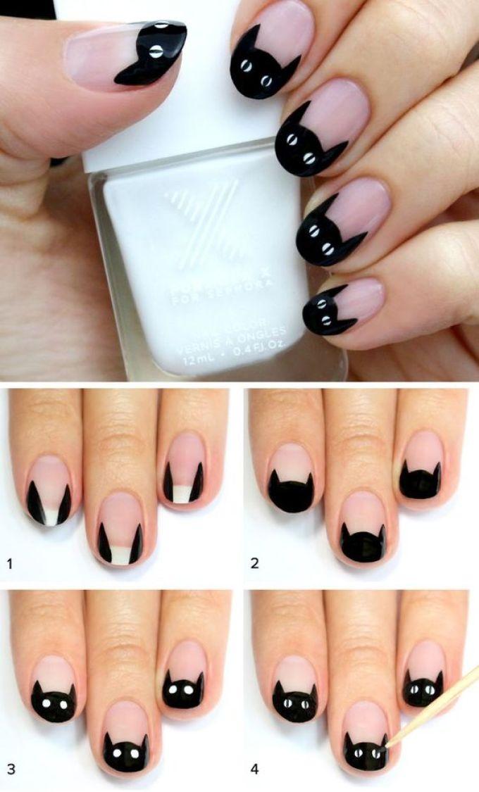 Как нарисовать на ногтях кошку поэтапно