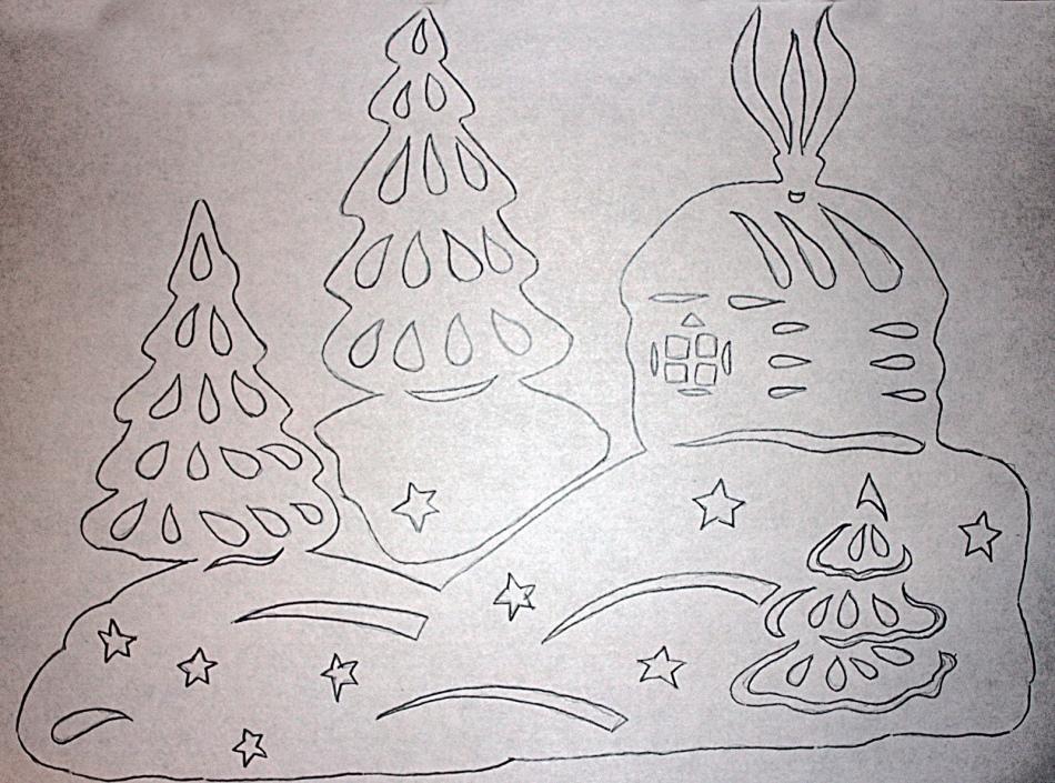 Вытынанки новогодние сугробы шаблоны