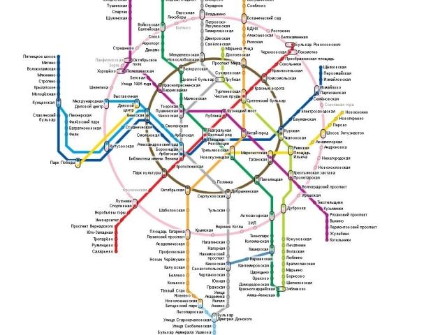 Схема метро с временем проезда