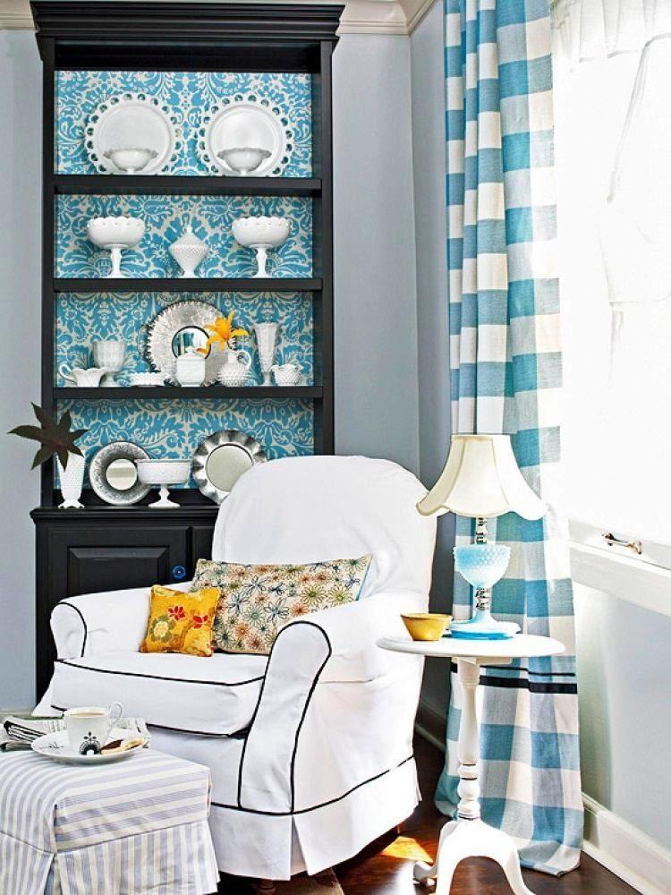 Декупаж изнутри перекликается с основной цветовой гаммой комнаты