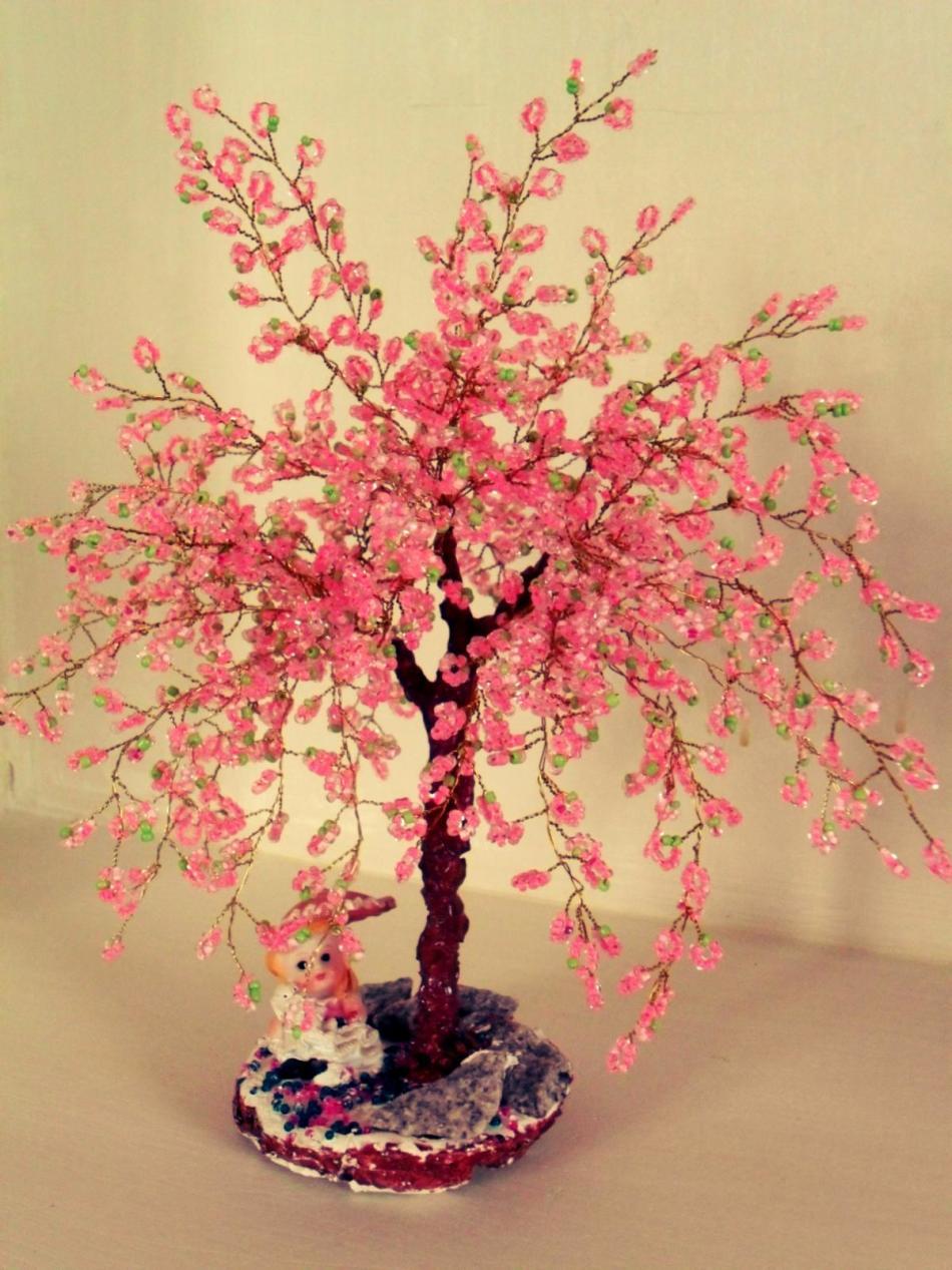 Деревья сакуры из бисера мастер класс с пошаговым фото