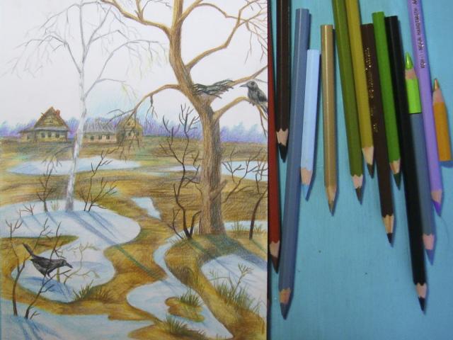 Рисунок карандашом пейзаж зимы 7 класс