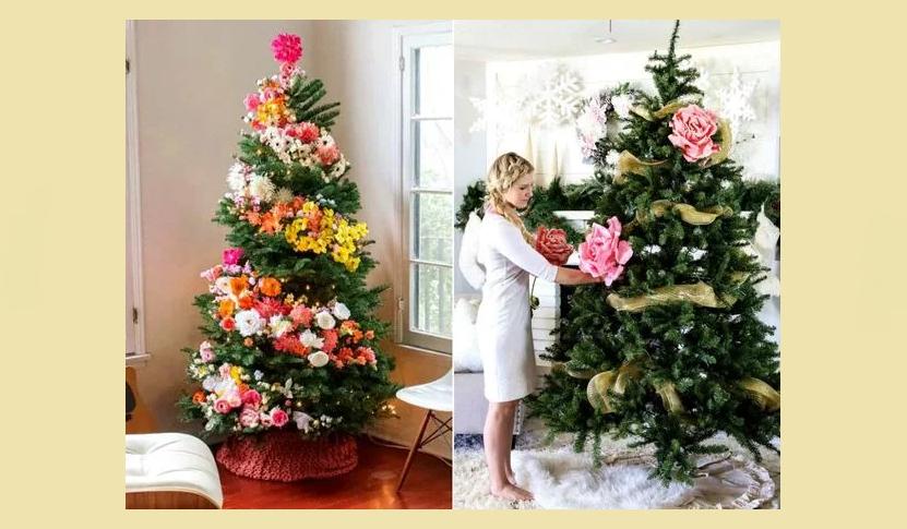 Украшение елки цветами из бумаги и бантами