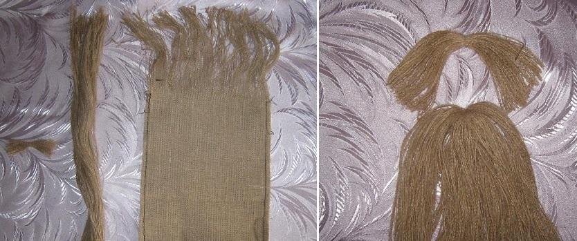 Сшиваем мешковину для туловища и головы домового и делаем волосы и бороду