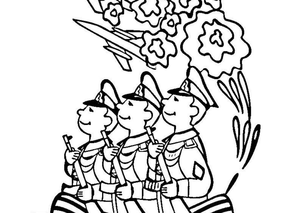 Шаблон № 3 - простая раскраска для детей маленького возраста с изображением солдат