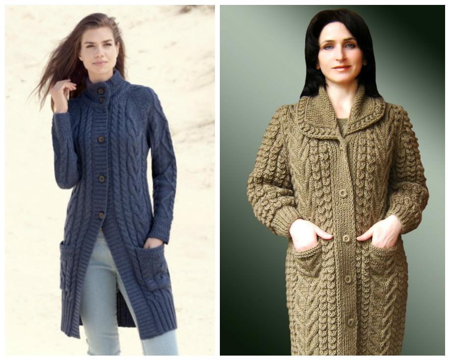 Вязаное пальто для полных спицами фото и схемы