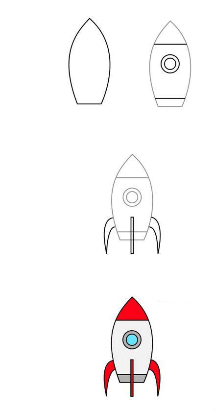 Ракета с иллюминатором, рисунок для детей