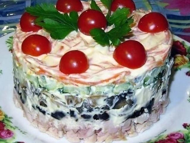 салат обжорка пошаговый рецепт слоями