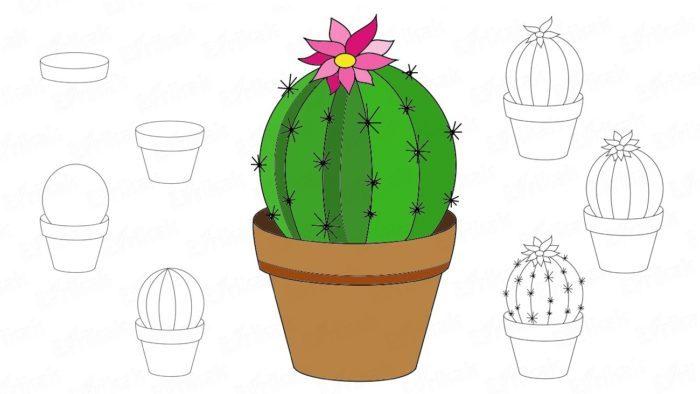 Нарисованный кактус фото