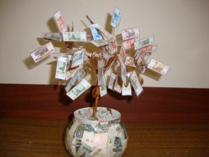 Денежные деревья из купюр своими руками