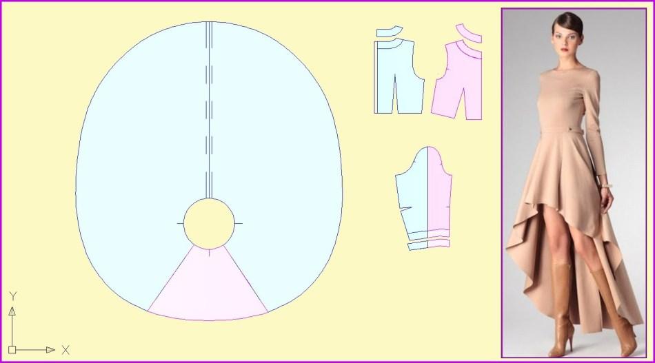 Выкройка юбки платья со шлейфом