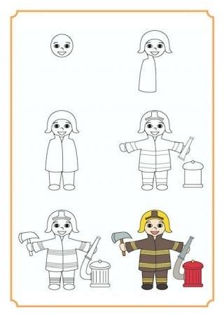Как нарисовать пожарного поэтапно ребенку