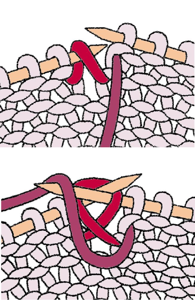 Как связать изнаночную петлю из протяжки