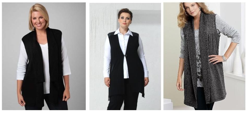 Модные жилеты на полных женщин