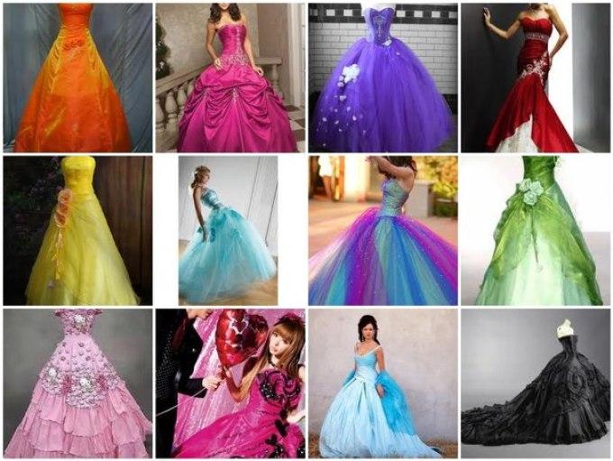 Фото красивых свадебных платьев разных цветов