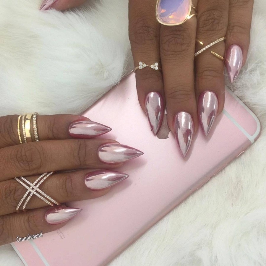 Дизайн ногтей розовая втирка