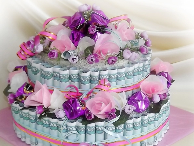 Поздравления на юбилей денежный торт