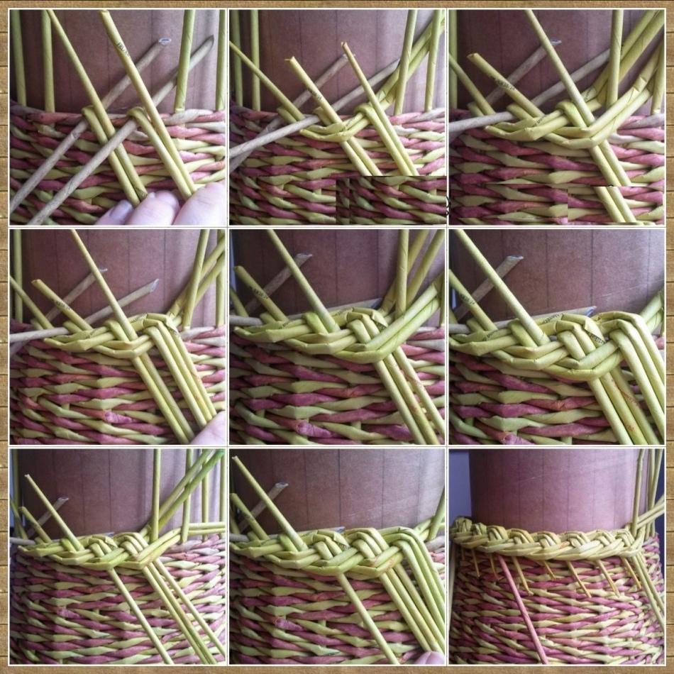 плетение корзины из прутьев схема