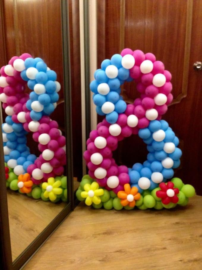Цифра три из шаров своими руками 72