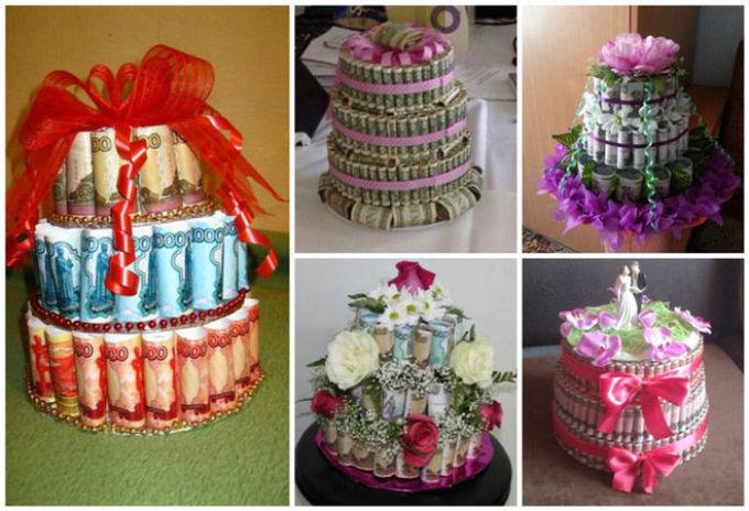 Поздравление на свадьбу к торту из денег