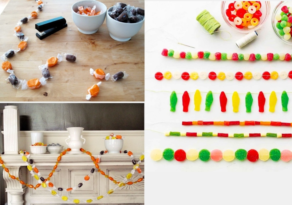 Как сделать гирлянду из конфет