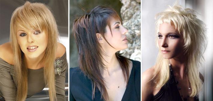 Рваная стрижка на средние волосы с челкой фото
