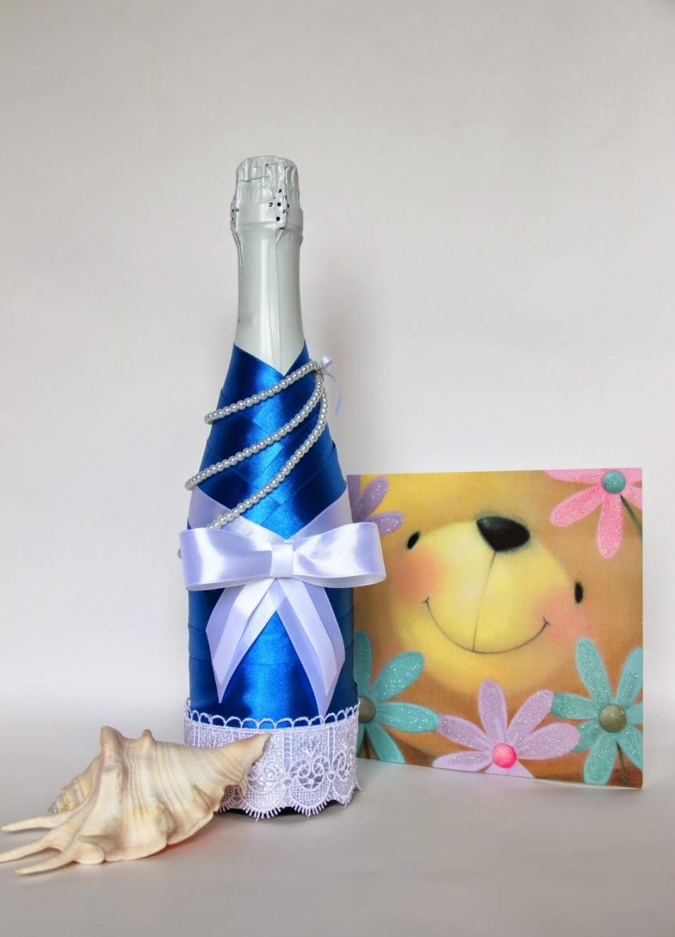 Декупаж бутылок своими руками: свадебных, на день Рождения, Новый год. Как сделать декупаж свадебных бутылок шампанского и бокал