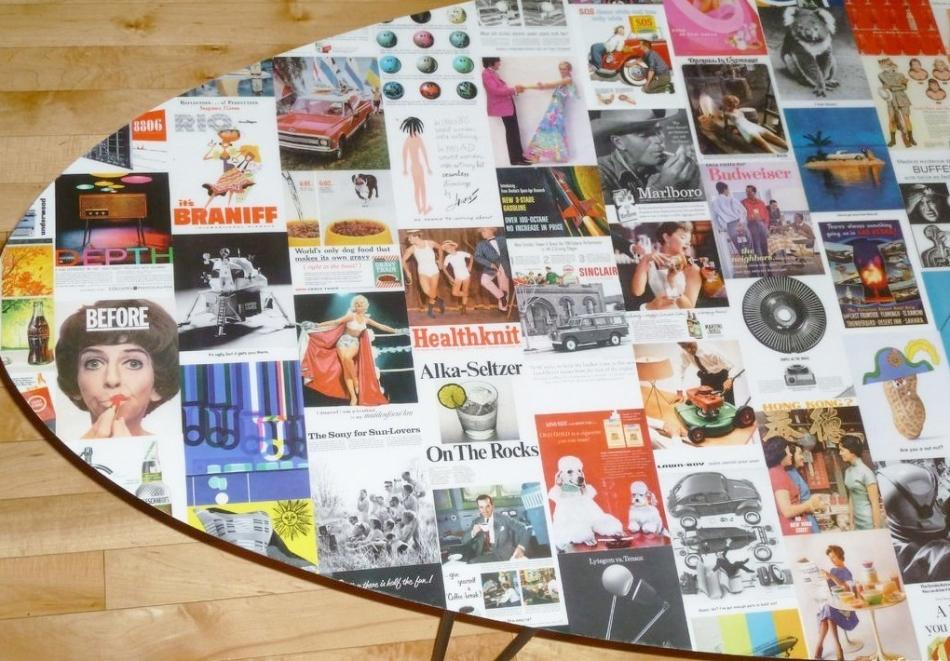 Декупаж стола с помощью газет