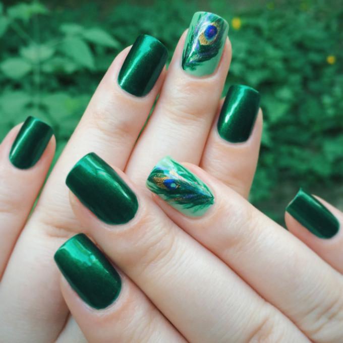 Шеллак зеленого цвета дизайн фото