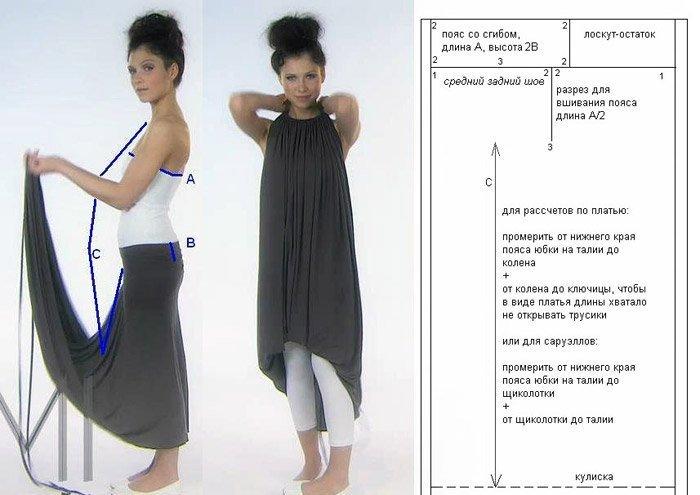 выкройка длинного платья трансформер