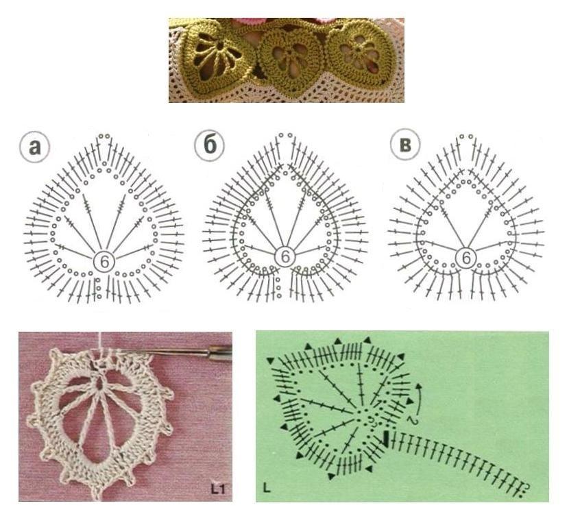 Вязание цветочков и листочков 608