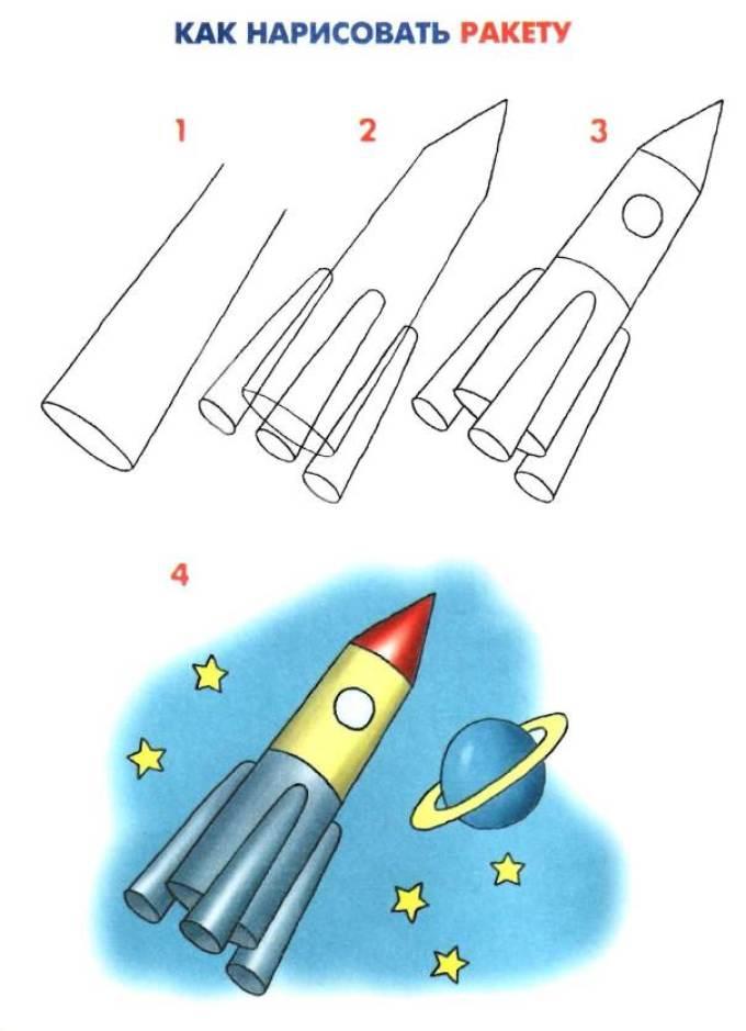 Как поэтапно нарисовать ракету