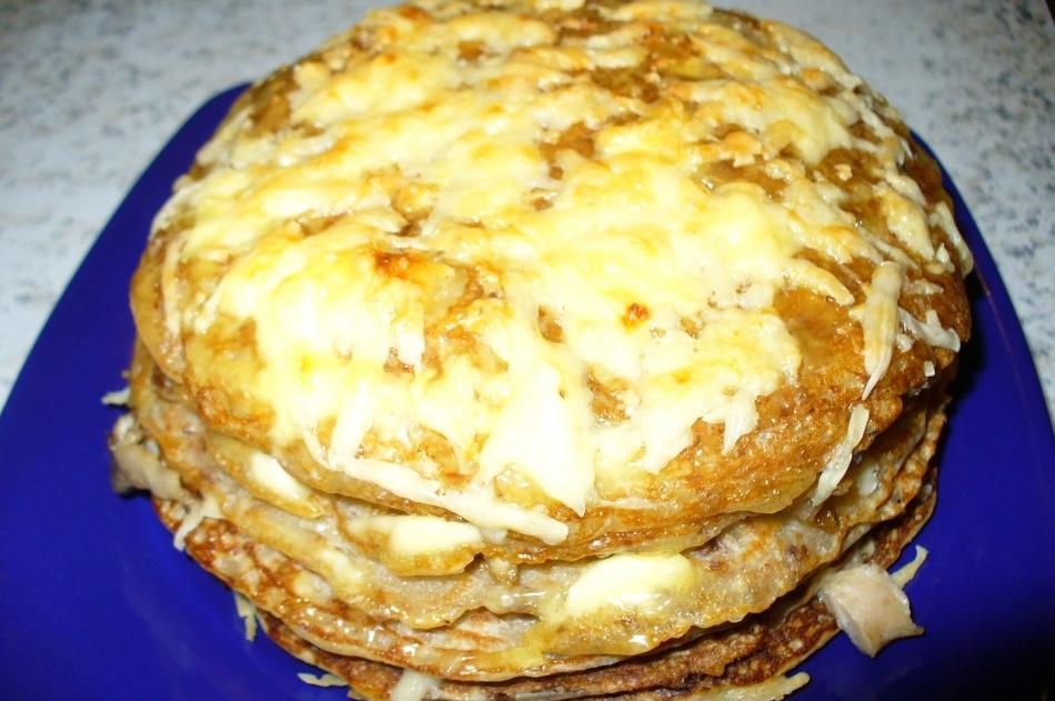 Несладкий блинный пирог рецепт пошагово