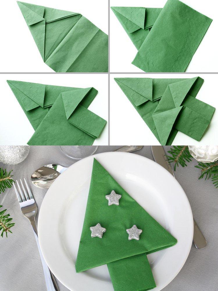 Как сделать елочку из бумажной салфетки