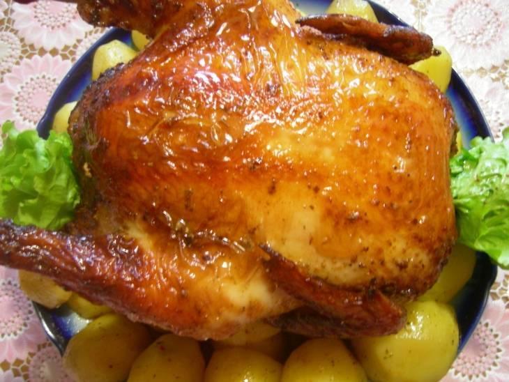 курица в духовке целиком на вертеле рецепт