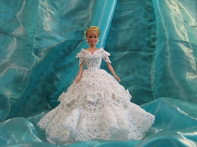 Вязание крючком для барби свадебное платье 47