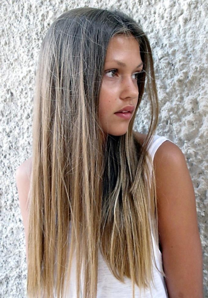 омбре на темно русые волосы средней