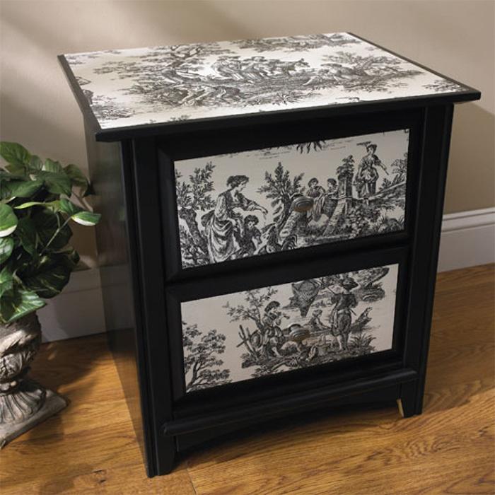 Декупаж мебели чёрно-белыми обоями - это стильно